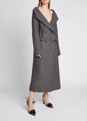 Altuzarra Barbara Off-the-Shoulder Wool Double-Breasted Coat