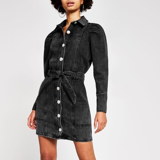 River Island Womens Black puff sleeve denim shirt mini dress