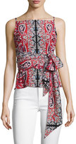 Nanette Lepore Anchors Away Paisley Silk Top, Red/Multicolor