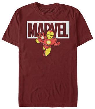 Fifth Sun Slim Iron Man Cartoon Logo Mens Crew Neck Short Sleeve Graphic T-Shirt
