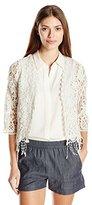 Leo & Nicole Women's Missy 3/4 Sleeve Crochet Shrug with Fringe Sweater