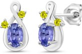 Gem Stone King 0.98 Ct Oval Blue Tanzanite and Canary Diamond 18k White Gold Earrings