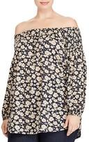 Lauren Ralph Lauren Plus Floral Jersey Off-The-Shoulder Top