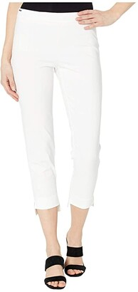 Lisette L Montreal Mila Stretch Fabric Pull-On Step Hem Crop Pants (White) Women's Casual Pants