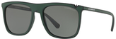 Emporio Armani Ea4095 Polarised Square Sunglasses, Dark Green/grey