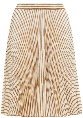Missoni Pleated Metallic Crochet-knit Skirt