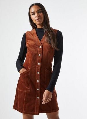 Dorothy Perkins Womens Tan Corduroy Pinafore Dress