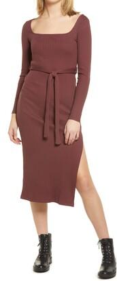 Topshop Jersey Ribbed Long Sleeve Midi Dress