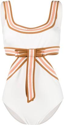 Zimmermann Super Eight ribbon-embellished swimsuit