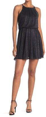 Rowa Lurex Stripe High Neck Dress