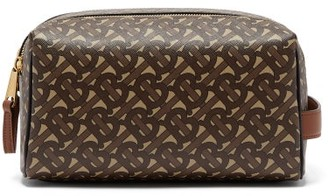 Burberry Tb-monogram Coated-canvas Wash Bag - Brown