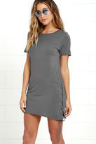 LuLu*s Chic Your Fortune Olive Green Lace-Up Shift Dress