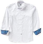 Visconti Solid Jacquard Long-Sleeve Woven Shirt
