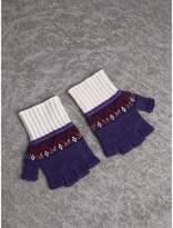 Burberry Fair Isle Cashmere Wool Fingerless Gloves