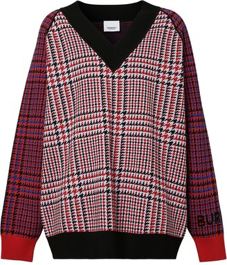 Burberry Houndstooth-Check Wool Jumper