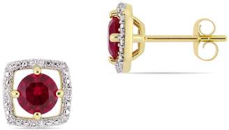 Concerto 10K Yellow Gold Halo Birthstone Stud Earrings with 0.07 CT. T.W. Diamond
