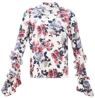 Erdem Louella Rose-print Silk-jacquard Blouse - White Multi