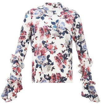 Erdem Louella Rose-print Silk-jacquard Blouse - Womens - White Multi