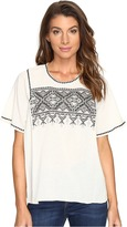 Lilla P Short Sleeve Embroidered Top