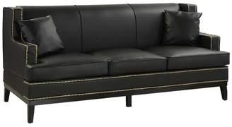 Divina Casa Modern Soft Bonded Leather with Nailhead Trim Details, Black