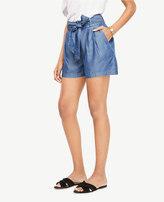 Ann Taylor Chambray Fluid Tie Waist Shorts