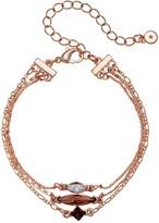 Lauren Conrad Rose Gold Tone Simulated Crystal Multi Row Bracelet