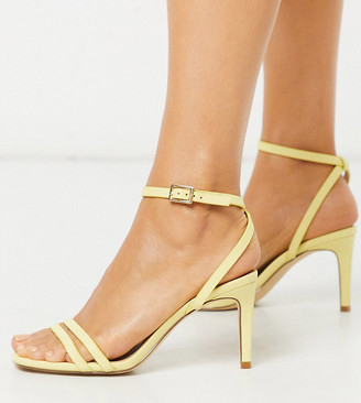 Truffle Collection wide fit square toe strappy heeled sandals in lemon yellow