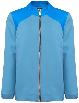 Manley Luna Wool and Leather Bomber Jacket - Blue