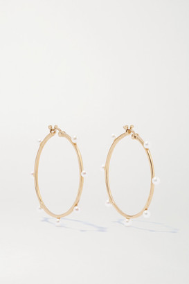 Mateo 14-karat Gold Pearl Hoop Earrings - one size