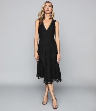 Reiss Barbara - Lace Midi Dress in Black