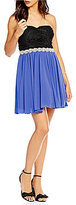 Jodi Kristopher Strapless Soutache-Bodice Color Block A-line Dress