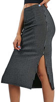 Topshop Pinstripe Midi Tube Skirt
