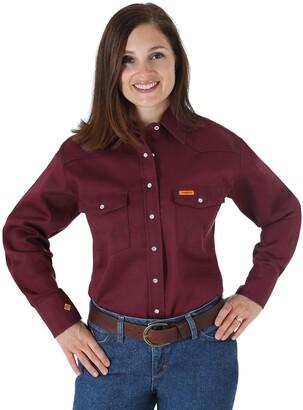 Riggs Workwear Women's FR Flame Resistant Western Long Sleeve Snap Work Shirt