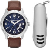 Claiborne Mens Brown Leather Strap Watch and Pocket Knife Set