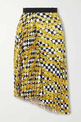 Balenciaga - Asymmetric Pleated Printed Satin-crepe Skirt - White