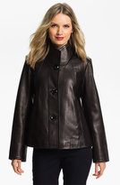 Ellen Tracy Button Up Leather Jacket (Nordstrom Exclusive)