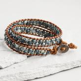 Blue Glass Bead Wrap Bracelet
