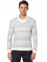 Perry Ellis Multi Pattern V-Neck Sweater