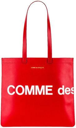 Comme des Garcons Huge Logo Tote Bag in Red | FWRD