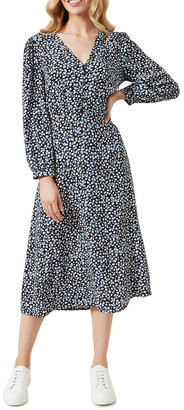 French Connection Balloon Sleeve Midi Dress
