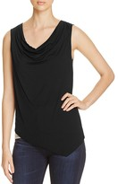 Three Dots Cowl Neck Asymmetric Mixed Knit Tank