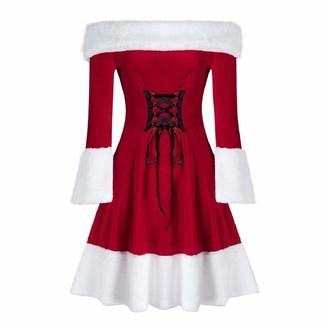 YEBIRAL Womens Christmas Santa Rockabilly Dress Vintage Party Dress Velvet Long Sleeve Festival Off Shoulder A Line Dress Red