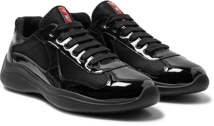 b4e73e99 America's Cup Patent-Leather And Mesh Sneakers