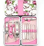 OJIA 12pcs Stainless Steel Manicure Pedicure Set ,Travel & Grooming Set, Personal Care Tools, Nail Scissors Nail Clippers Kit with Beautiful Rose Leather Case