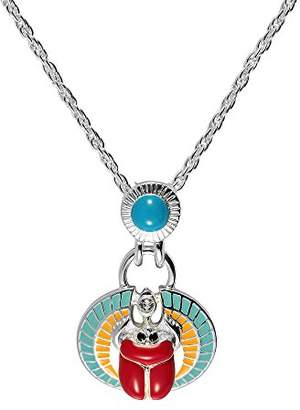 Cristalina Silver Plated Turquoise and Coral Coloured Egyptian Scarab Pendant Hand Enameled with Crystals and Chain of Length 50-56cm
