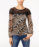 INC International Concepts Petite Lace & Animal-Print Top, Only at Macy's