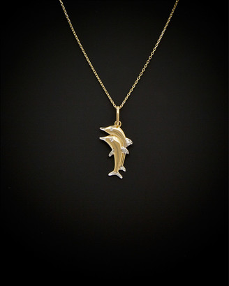 Italian Gold 14K Two-Tone Double Dolphin Adjustable Necklace