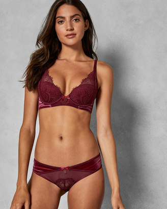 Ted Baker TALLURA Velvet and lace Brazilian knickers