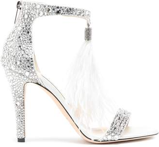 Jimmy Choo Embellished Feather-trimmed Satin Sandals