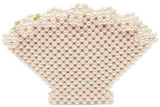 Shrimps Faux Pearl Beaded Shell Purse